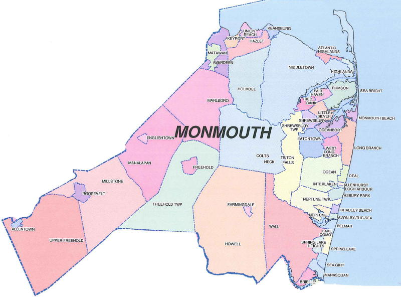 Map Of Monmouth County Nj monmouth county map   West Milford, NJ Home Inspection Company